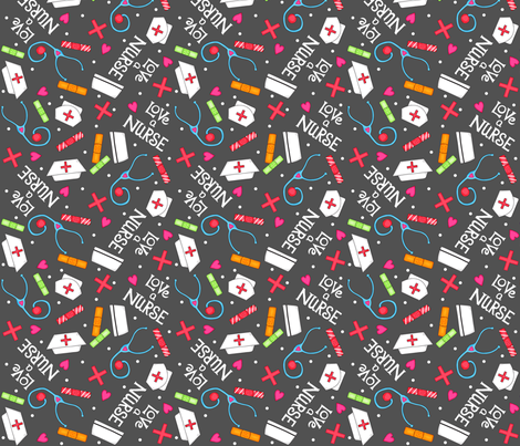 Love a Nurse Charcoal Gray fabric by phyllisdobbs on Spoonflower - custom fabric