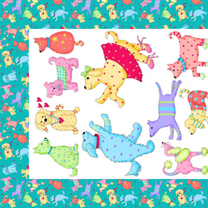 Party Pups Wholecloth Quilt Top Multicolor
