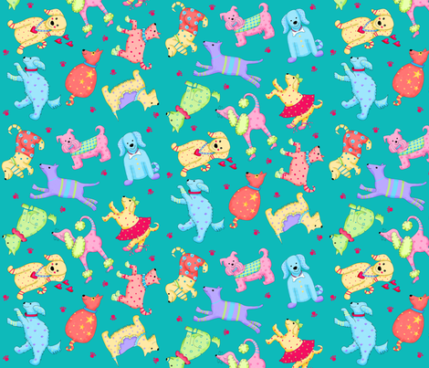 Wimsy Party Pups Turquoise Teal Green fabric by phyllisdobbs on Spoonflower - custom fabric
