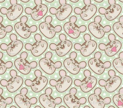 Happy Ditsy Mice on Green