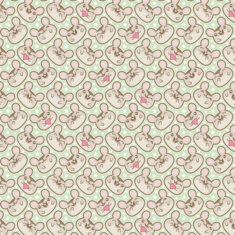 Happy Ditsy Mice on Green fabric by woodmouse&bobbit on Spoonflower - custom fabric