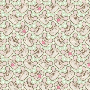Happy Ditsy Mice on Green