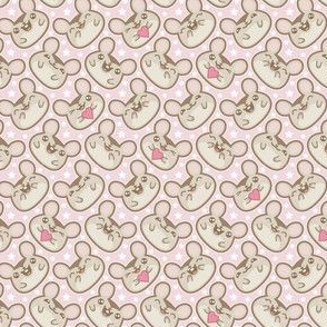 Happy Ditsy Mice on Pink
