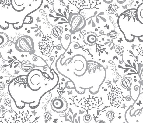 Elephants With Bouquets Grey White fabric by oksancia on Spoonflower - custom fabric