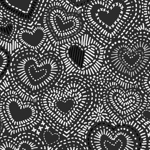 BW Needlepoint Hearts
