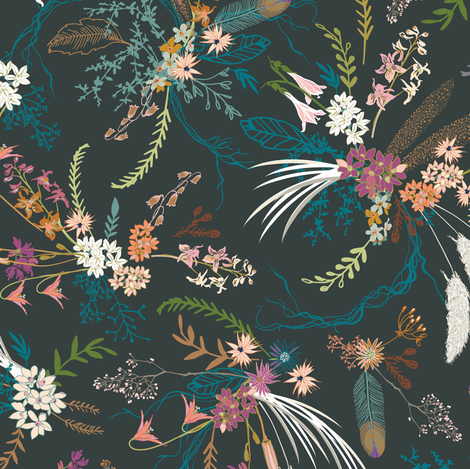 Sheba floral (dark)  fabric by nouveau_bohemian on Spoonflower - custom fabric