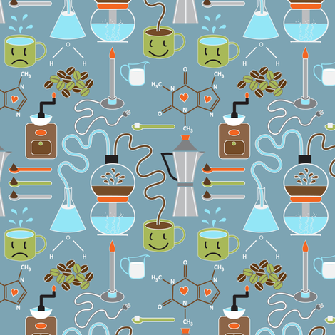 Small Coffee as Science fabric by vo_aka_virginiao on Spoonflower - custom fabric