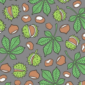 Chestnuts & Leaves Forest Woodland Fall on Dark Grey