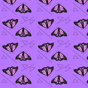 Butterflies and Triangles Purple Upholstery Fabric
