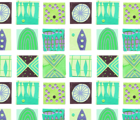 9 Squares Green fabric by zoe_ingram on Spoonflower - custom fabric