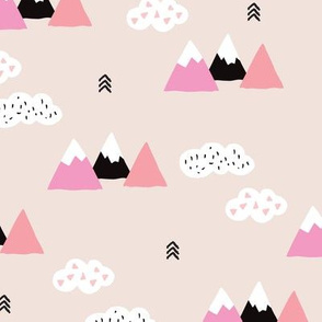 Cool scandinavian winter wonder woodland theme with clouds arrows and mountain peak snow theme vintage girls pink