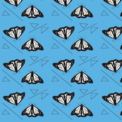 Butterflies and Triangles Blue Upholstery Fabric