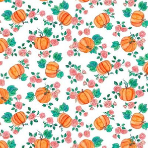 Tiny Multi-directional Pumpkins & Roses on White