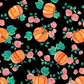 Multi-directional Pumpkins & Roses on Black
