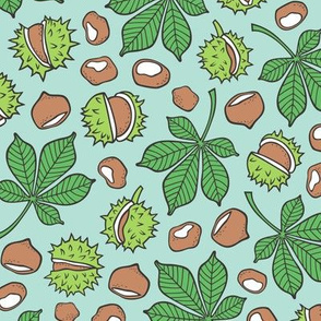 Chestnuts & Leaves Forest Woodland Fall on Mint Green