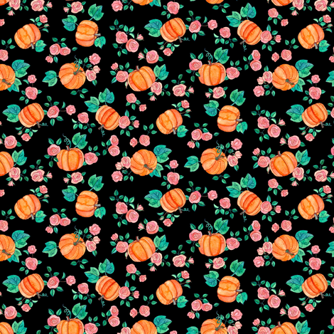Extra Tiny Multi-directional Pumpkins & Roses on Black fabric by micklyn on Spoonflower - custom fabric