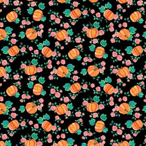 Extra Tiny Multi-directional Pumpkins & Roses on Black