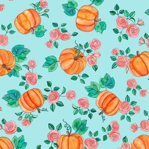 Multi-directional Pumpkins & Roses on Tiffany Blue