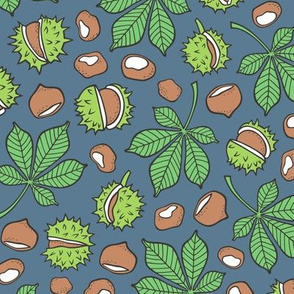 Chestnuts & Leaves Forest Woodland Fall on Blue Navy