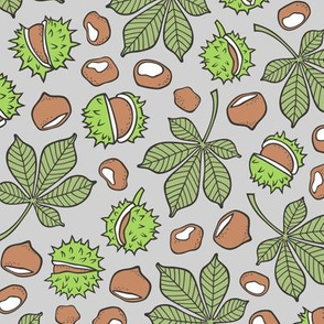 Chestnuts & Leaves Forest Woodland Fall Green on Grey