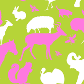 Farm and Woodland Animals Pink and White on Lime