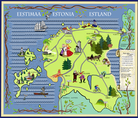 Estonian Illustrated Map fabric by palusalu on Spoonflower - custom fabric