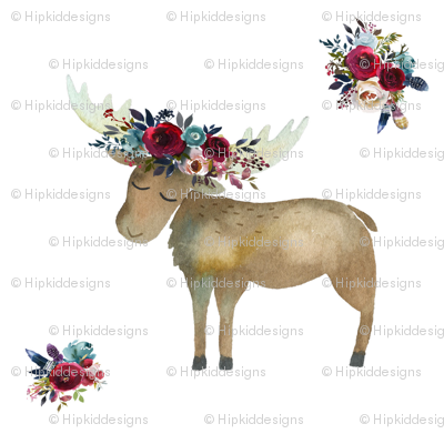Bohemian Moose with Rose Wine Florals