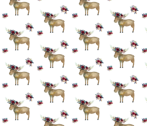 Bohemian Moose with Rose Wine Florals fabric by hipkiddesigns on Spoonflower - custom fabric