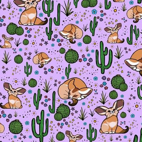 Fennec Foxes in Purple