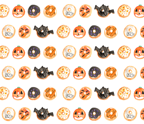 Halloween Donuts Watercolor fabric by hipkiddesigns on Spoonflower - custom fabric