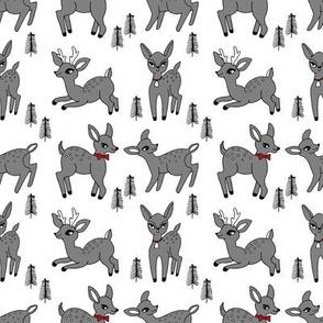 Reindeer christmas deer pattern grey