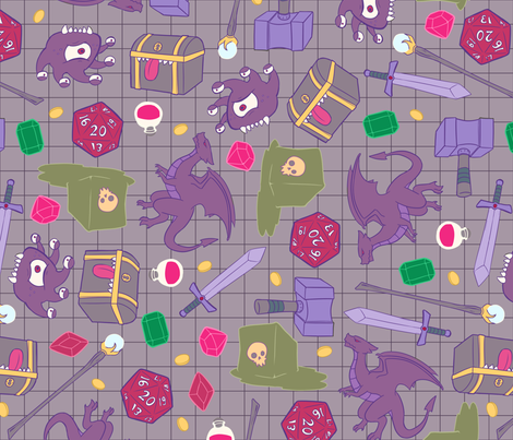 Tabletop Dungeon Toss fabric by sweetingenuity on Spoonflower - custom fabric