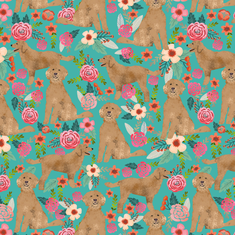 Golden Doodle floral flowers dog fabric pattern turquoise fabric by petfriendly on Spoonflower - custom fabric