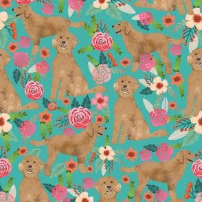 Golden Doodle floral flowers dog fabric pattern turquoise