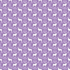 Pug dog  breed silhouette floral fabric pattern purple (small print)