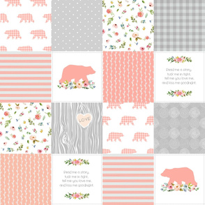 Baby Girl Quilt Top - Woodland Cheater Quilt Bears Wholecloth Nursery Blanket, Peach & Gray