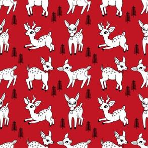 Reindeer christmas deer pattern red white