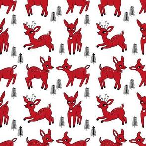 Reindeer christmas deer pattern red