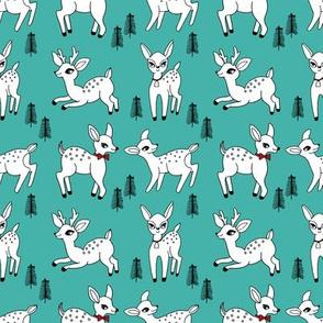 Reindeer christmas deer pattern turquoise