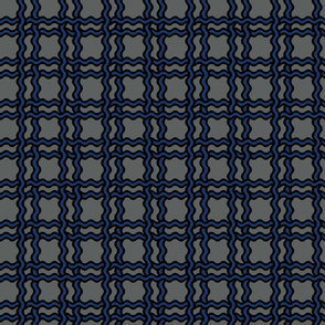 squiggle plaid - grey ocean navy