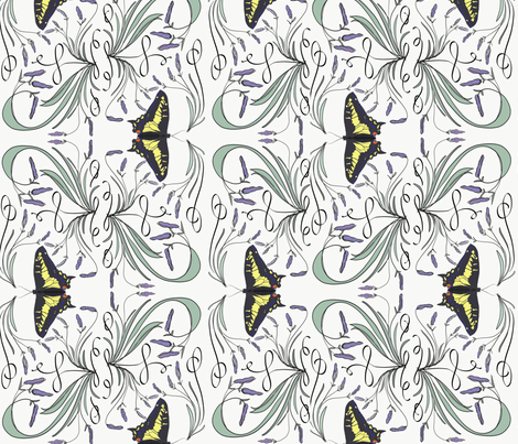 Lavender and swallowtail  damask fabric by lauralavender on Spoonflower - custom fabric