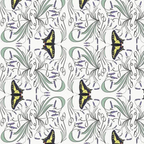 Lavender and swallowtail  damask