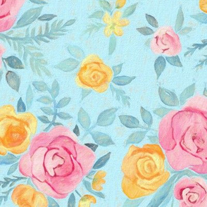 Chalk Pastel Pink & Orange Roses on Sky Blue - medium print