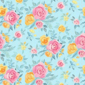 Chalk Pastel Pink & Orange Roses on Sky Blue - small print