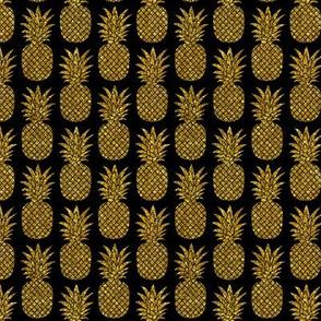 gold glitter pineapples on black - mini