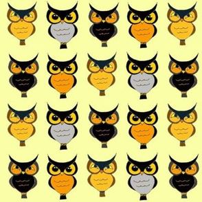 OWLS ON BRIGHT LIGHT YELLOW