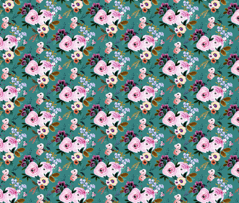 Victoria Floral S - teal fabric by crystal_walen on Spoonflower - custom fabric