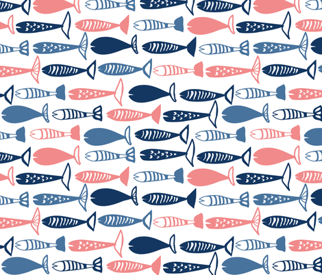 School of fish pink and blue fabric by lburleighdesigns on Spoonflower - custom fabric