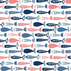 School of fish pink and blue