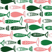 School of Fish pink and green
